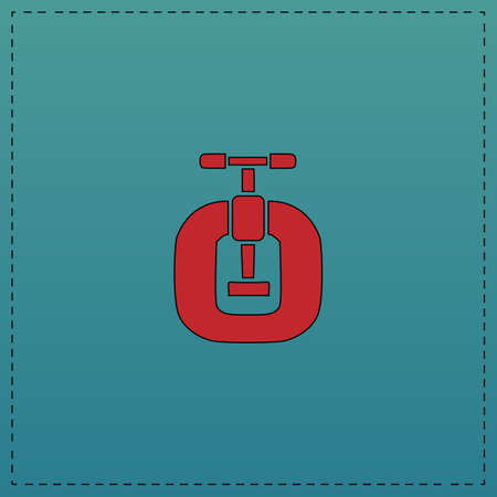 Vice Red vector icon with black contour line. Flat computer symbol on blue background Illustration
