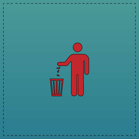 Bin Red vector icon with black contour line. Flat computer symbol on blue background Ilustrace