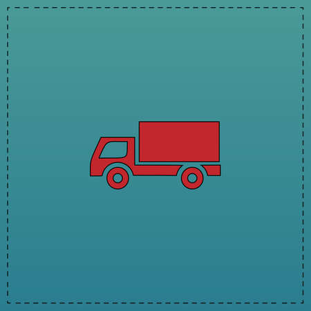 Cargo truck Red vector icon with black contour line. Flat computer symbol on blue background