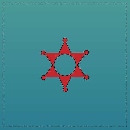 黒の輪郭線と保安官星赤ベクトル アイコン。青の背景にコンピューターの平らのシンボル