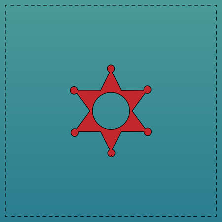 Sheriff star Red vector icon with black contour line. Flat computer symbol on blue background