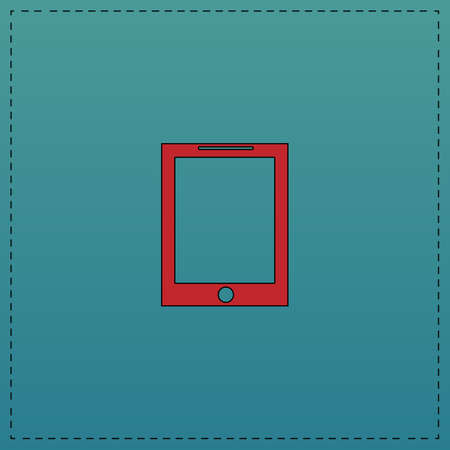 tablet Red vector icon with black contour line. Flat computer symbol on blue background