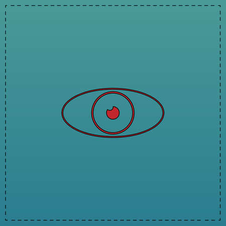 eye Red vector icon with black contour line. Flat computer symbol on blue background