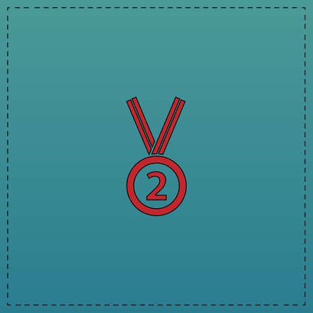 silver medal Red vector icon with black contour line. Flat computer symbol on blue background