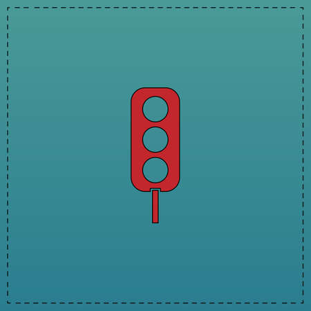 Traffic light Red vector icon with black contour line. Flat computer symbol on blue background