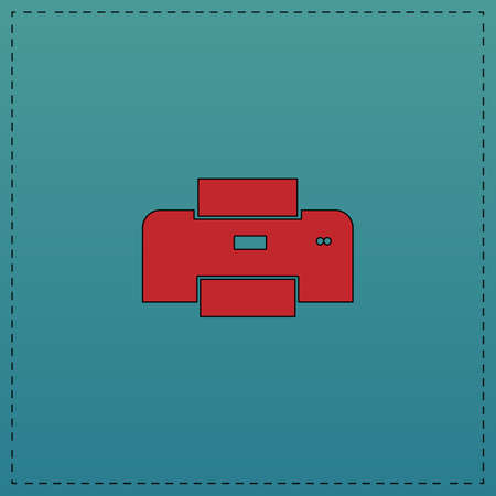 Print Red vector icon with black contour line. Flat computer symbol on blue background
