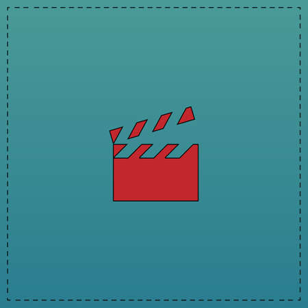 flick: clap board Red vector icon with black contour line. Flat computer symbol on blue background