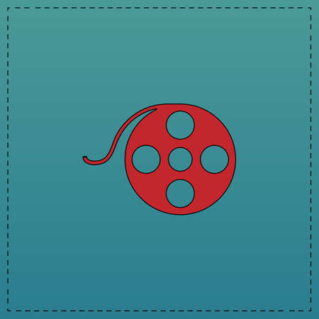 Film reel Red vector icon with black contour line. Flat computer symbol on blue background