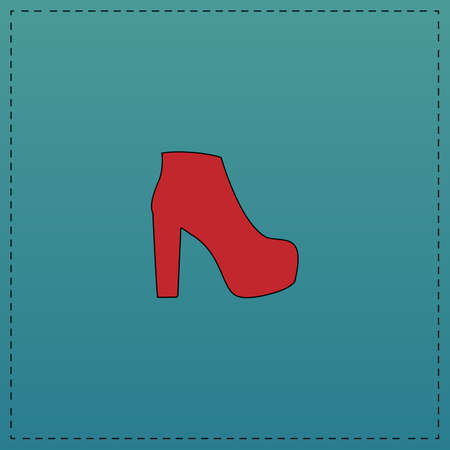 moccasin: boot Red vector icon with black contour line. Flat computer symbol on blue background Illustration