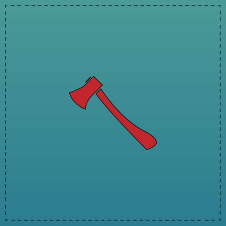 Axe Red vector icon with black contour line. Flat computer symbol on blue background Illustration