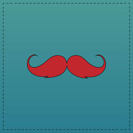 chaplin: Mustache Red vector icon with black contour line. Flat computer symbol on blue background
