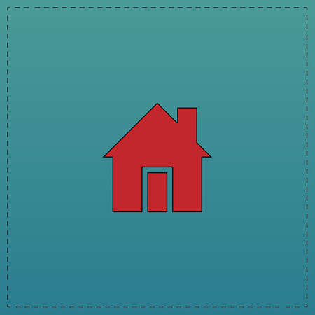 house Red vector icon with black contour line. Flat computer symbol on blue background