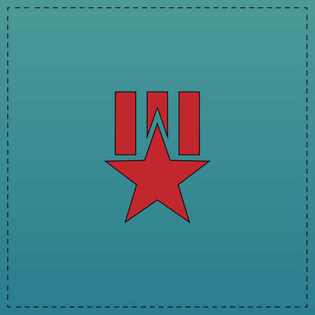 Order star Red vector icon with black contour line. Flat computer symbol on blue background