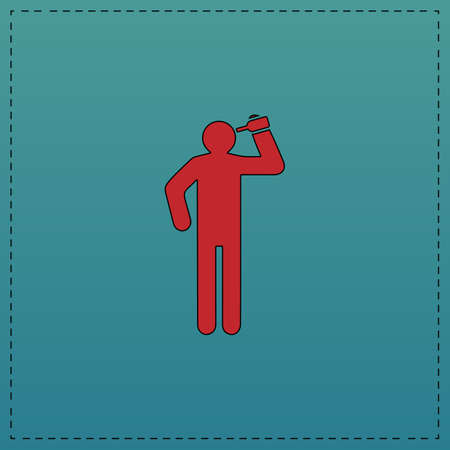 unconscious: drunkard Red vector icon with black contour line. Flat computer symbol on blue background Illustration