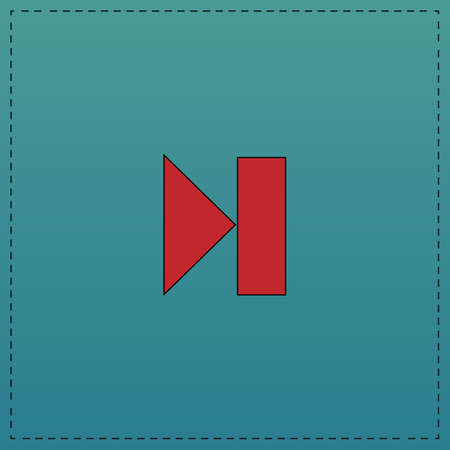 Next track button Red vector icon with black contour line. Flat computer symbol on blue background Illustration