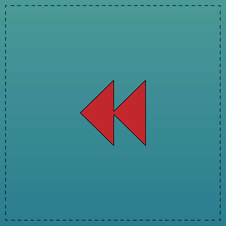rewind  Red vector icon with black contour line. Flat computer symbol on blue background Illustration