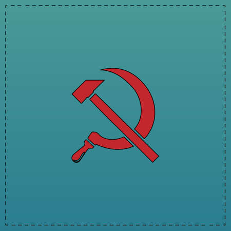 ussr Red vector icon with black contour line. Flat computer symbol on blue background