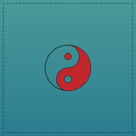 Ying yang Red vector icon with black contour line. Flat computer symbol on blue background