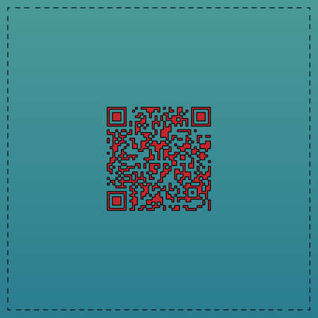 qrcode: Qr code Red vector icon with black contour line. Flat computer symbol on blue background
