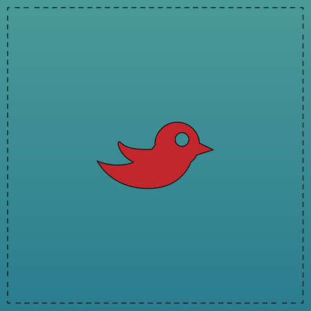 Bird Red vector icon with black contour line. Flat computer symbol on blue background Illustration