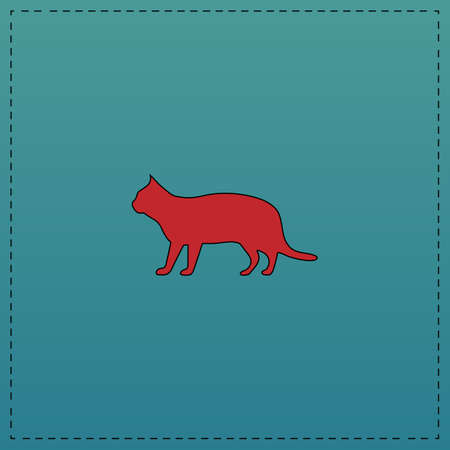 pussycat Red vector icon with black contour line. Flat computer symbol on blue background