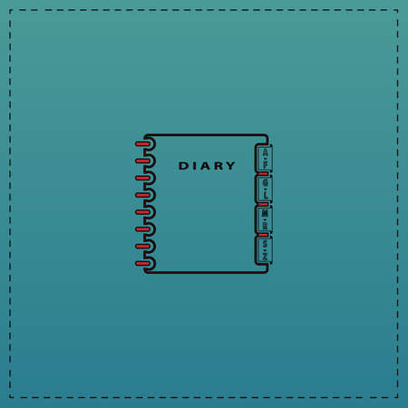 note pad and pen: notebook Red vector icon with black contour line. Flat computer symbol on blue background