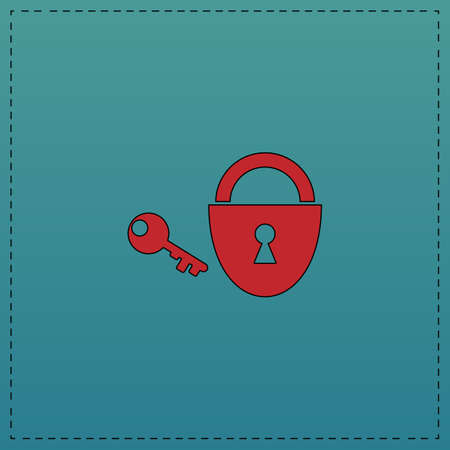 Padlock and key Red vector icon with black contour line. Flat computer symbol on blue background