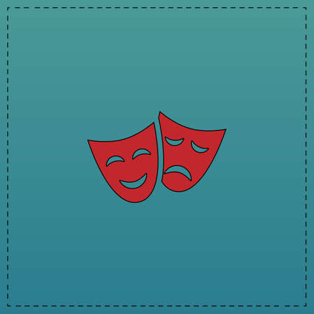 masks Red vector icon with black contour line. Flat computer symbol on blue background
