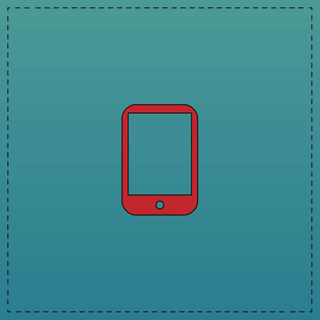 tabletpc: tablet PC Red vector icon with black contour line. Flat computer symbol on blue background