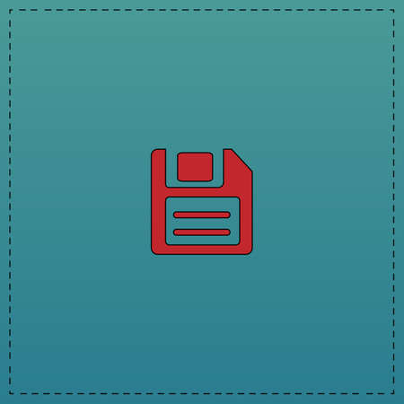 Floppy Disk Red vector icon with black contour line. Flat computer symbol on blue background