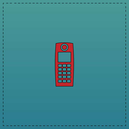 cb phone: walkie talkie Red vector icon with black contour line. Flat computer symbol on blue background