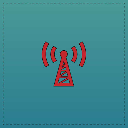 cell phone transmitter tower: Transmitter Red vector icon with black contour line. Flat computer symbol on blue background