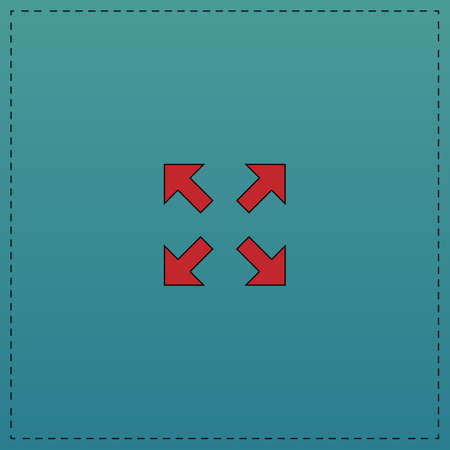 four arrows Red vector icon with black contour line. Flat computer symbol on blue background