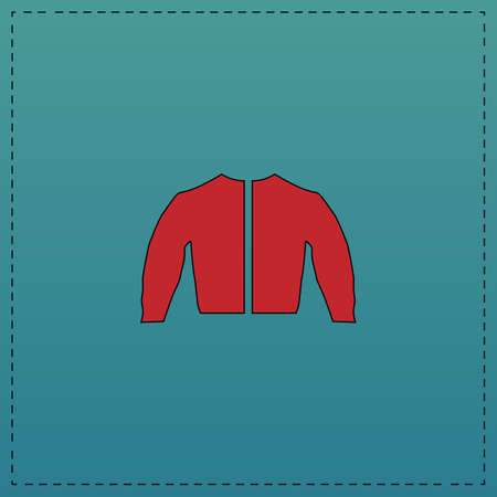jacket Red vector icon with black contour line. Flat computer symbol on blue background