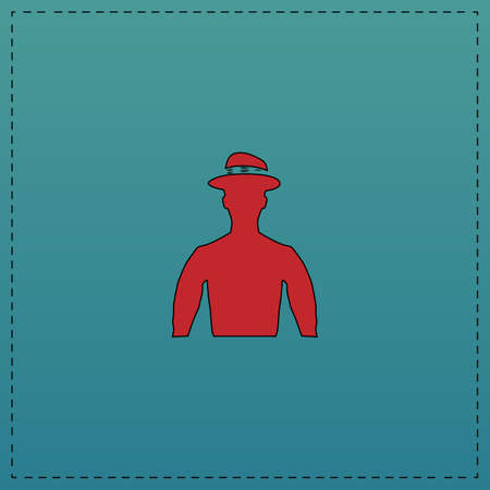Cowboy Red vector icon with black contour line. Flat computer symbol on blue background