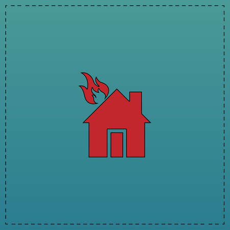 house fire: house fire Red vector icon with black contour line. Flat computer symbol on blue background Illustration
