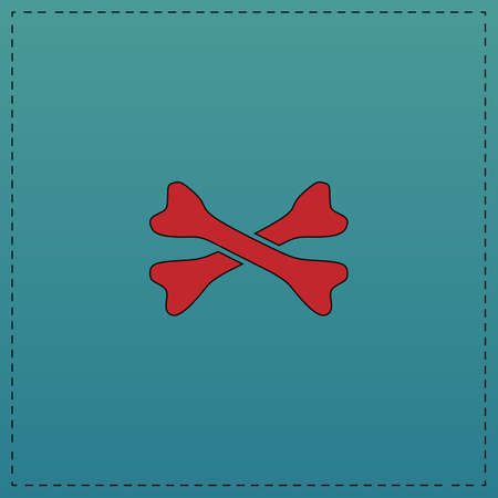 crossed bones Red vector icon with black contour line. Flat computer symbol on blue background