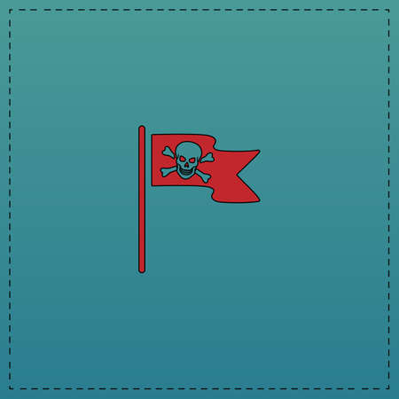 mercenary: Jolly Roger Red vector icon with black contour line. Flat computer symbol on blue background