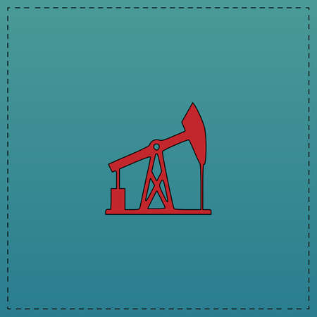 oil pump Red vector icon with black contour line. Flat computer symbol on blue background