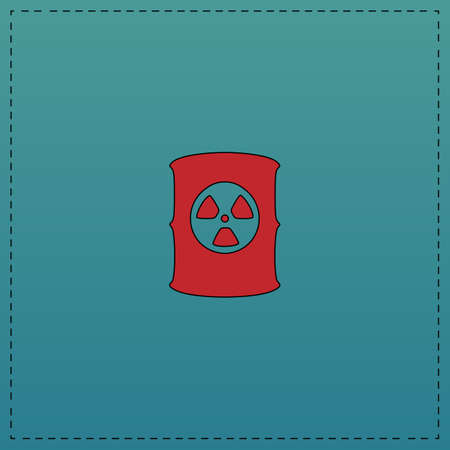 radioactive waste: Radioactive waste Red vector icon with black contour line. Flat computer symbol on blue background