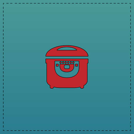 electric pan Red vector icon with black contour line. Flat computer symbol on blue background