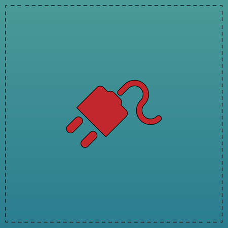 Power cord Red vector icon with black contour line. Flat computer symbol on blue background