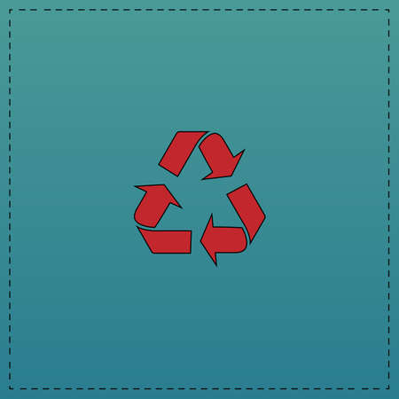 Recycling Red vector icon with black contour line. Flat computer symbol on blue background Ilustrace