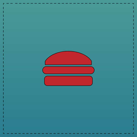 american cuisine: Burger Red vector icon with black contour line. Flat computer symbol on blue background Illustration