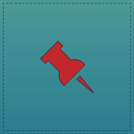 Pushpin Red vector icon with black contour line. Flat computer symbol on blue background Illustration