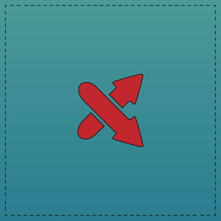 skip: crossing arrow Red vector icon with black contour line. Flat computer symbol on blue background Illustration