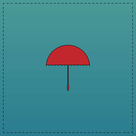brolly: bumbershoot Red vector icon with black contour line. Flat computer symbol on blue background