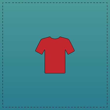 t-shirt Red vector icon with black contour line. Flat computer symbol on blue background Illustration