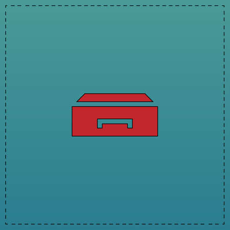 filing cabinet: Box Red vector icon with black contour line. Flat computer symbol on blue background