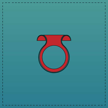 Wobbler Red vector icon with black contour line. Flat computer symbol on blue background